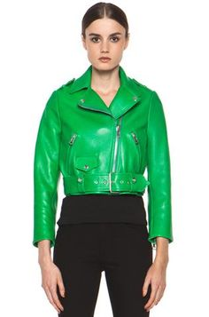 Acne | Mape Petite Leather Jacket in Bright Green www.FORWARDbyelysewalker.com