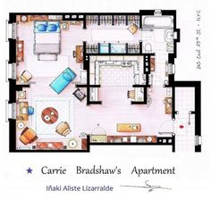 Plano del departamento de Carrie BRADSHAW. Sex and the city