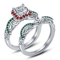 Disney Princess Engagement Rings | Disney Princess Cut 925 Sterling Silver White Gold Plated Multi Stone ...