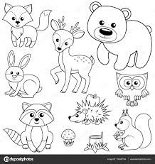 """Woodland Animal Coloring Pages Inspirational """"forest Animals Fox Bear Raccon Hare Deer Owl Art Drawings For Kids, Drawing For Kids, Animal Drawings, Easy Drawings, Animal Coloring Pages, Coloring Book Pages, Forest Animals, Woodland Animals, Fox Stock"""