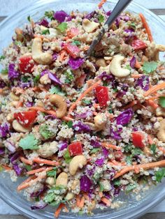 healthy and clean: crunchy thai quinoa salad.   This is my new favorite - add a little rooster sauce to the peanut dressing, make a big batch, and bring it for lunch all week