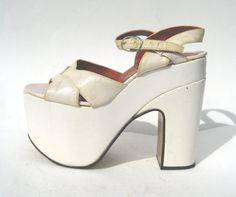 d01937382b9 1970s Italian DiOrsini white leather platforms - size 7 - glamorous super  high platforms - 1970s platform sandals - white platform shoes