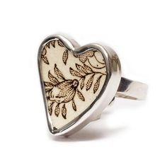 Vintage Porcelain Jewelry  Gustavsberg Ebony Heart by PAVOJewelry, $59.00