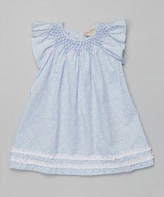 Love this Blue Smocked Angel-Sleeve Dress - Infant by P'tite Môm on #zulily! #zulilyfinds