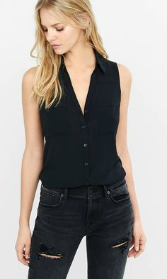 Slim Fit Sleeveless Portofino Shirt | Express