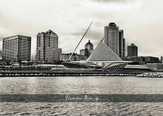 A Photograph of Calatrava Milwaukee Art Museum in Black & White - 8x10 photo - $25 #milwaukee #milwaukeearmuseum #calatrava #milwaukeeart