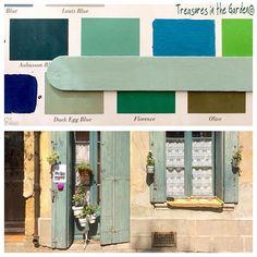 """Custom paint color> Giverny 2 TBSP Old White 2 tbsp  Paris Grey 6 TBSP Gracias al nuevo color #giverny de #anniesloanchalkpaint , he podido finalmente lograr ese gris-verdeagua de las persianas de Provenza . Giverny...Me tiene enamorada !! Que más pedirle a un color ? Su receta ?  en mi página Facebook ! Busca : """" Treasures in the Garden """" !!"""