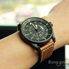 Naviforce 9044 Military Style Date PU Leather Quartz Men Wrist Watch at Banggood