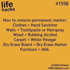 Life Hack 1558: Remove Permanent Marker Hack | #lifehacks #1000lifehacks Removing Sharpie, Sharpie Removal, How To Remove Sharpie, Remove Permanent Marker, Stain Removers, Laundry Tips, Laundry Room, Hack My Life, 1000 Life Hacks