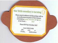 Monkey invitation...super easy to create the monkey head shape