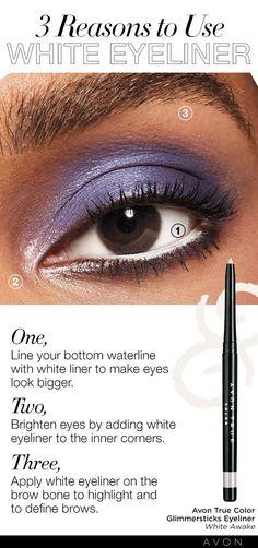 Glimmersticks - SMILE WITH YOUR EYES. Line and Define, White Eyeliner Tricks, Eye Liner Tricks, Beauty Tips Easy, Beauty Tricks, Makeup Tips, Eye Makeup, Makeup Ideas, Contour, Smile With Your Eyes