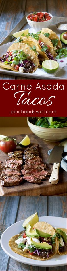 Carne Asada Tacos - the perfect summer treat and so easy to make! #tacos #easyrecipes #tacotuesday