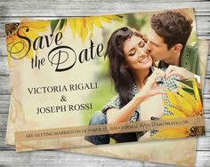 Photo Save The Date Postcard  #Sunflower #Wedding by VGInvites