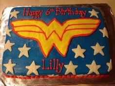 Wonder Woman Sheet Cake Wonder Woman Birthday Cake, Wonder Woman Cake, Wonder Woman Party, 10th Birthday, Girl Birthday, Birthday Parties, Birthday Ideas, Girl Superhero Party, Eat Cake