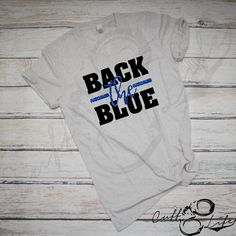 """Stay stylish & comfortable while supporting the thin blue line with our exclusive """"Back the Blue"""" designed boyfriend fit v-neck tee! Police Shirts, Blue Block, Thin Blue Lines, V Neck Tee, Shirt Style, What To Wear, Cute Outfits, Boyfriend, Stylish"""