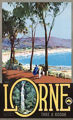 Lovely Lorne Victoria, Australia. 1930s vintage Australian travel poster http://vintagevenus.com.au/products/vintage_poster_print-tv928