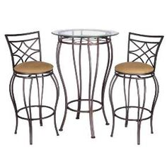 Three Piece Indoor Bistro Set Pub Bar Table and Stools Modern Counter Height Kitchen Chairs. Bistro set includes 1 table and 2 chairs. 3 Piece Bistro Set The set also includes two chairs, upholstered in a 100 -Percent Dacron Polyester Fiber. Pub Table And Stools, Bistro Table Set, Bar Table Sets, 3 Piece Bistro Set, Patio Bar Set, Table And Chair Sets, Bar Tables, Pub Set, Patio Furniture Sets