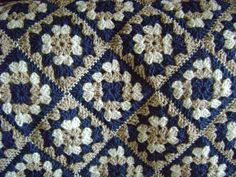 Tan Delight Granny Square Afghan. $50.00, via Etsy.