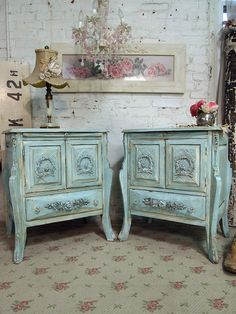 MY NEW NIGHT STANDS!!!!   Painted Cottage Chic  Pair of Shabby Aqua Night by paintedcottages