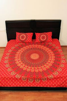 Indian Peacock Mandala Red Indian Quilt  Printed Bed Sheet Design Bedspread Throw