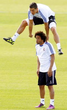 Cristiano Ronaldo and Marcelo soccer saving the earth ...pretty schweggy game of leap frog.