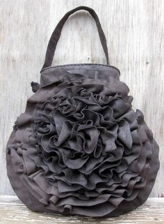 Dark Brown Leather Ruffle Rosette Bag by Stacy Leigh by stacyleigh, $425.00