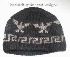 09645dc3a63 Knitting Pattern Cowichan Style Eagle Hat knit hat Toque Beanie Adult men  teen salish beanie cap eag