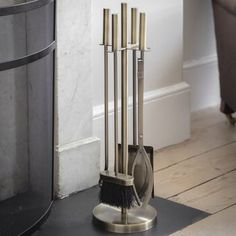 Antique Brass Fireside Tool Set By All Things Brighton Beautiful   notonthehighstreet.com Dustpans And Brushes, Log Holder, Fireplace Tool Set, Pet Resort, Log Burner, Tool Steel, Antique Brass, Home Appliances, Tools