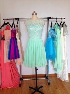 Lace Bridesmaid Dress Mint Bridesmaid Dresses by PromDressHeaven