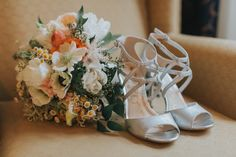 Silver, Strap Open Toe Wedding Shoes and Ivory, Orange, and Peach Bridal Wedding Bouquet of Flowers