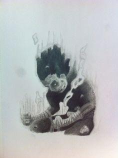 #blackandgrey #realism #crossover of #naruto #manga #rocklee