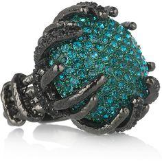 WANT : Roberto Cavalli Rhodium-plated Swarovski crystal ring, found on polyvore.com