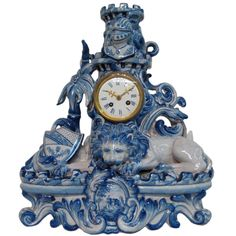 French Faience Mantle Clock