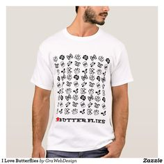 Shop I Love Butterflies T-Shirt created by GraWebDesign. Personalize it with photos & text or purchase as is! Butterflies, Shop Now, Fitness Models, Unisex, My Love, Casual, Sleeves, Mens Tops, Cotton
