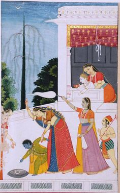 Krishna demanding Moon and mother Yasodha some how arranged the shadow of moon in a pot full of water- It is known as Bal hath. But mother is great and solved the problem for her child, Guler, Pahari, Himachal Pradesh, India, late 18th century CE.  Present location unknown. Courtesy- Dr.Daljeet Kaur.