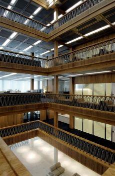 Novartis Visitor Center, 2006 // by Märkli architect Atrium, Stairs, Building, Workplace, Interiors, Space, Design, Home Decor, Hand Railing