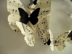 So Glittering: Música y mariposas Sheet Music Crafts, Sheet Music Art, Music Theme Birthday, Music Party, Diy And Crafts, Arts And Crafts, Paper Crafts, Music Centerpieces, Decoration Creche