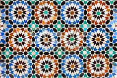 Arabic mosaic in Madressa Ali Ben Youssef, Marrakech Morocco royalty-free stock photo