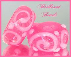 Pretty In Pink Pink Scrollwork Glass Beads by Gillianbeads on Etsy, $4.25