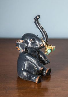 Tons of Help Ring Holder. Employ this elephant ring holder to help you organize your jewelry collection! #grey #modcloth