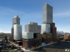 The Atlantic Yards project residential Tower in Brooklyn broke ground this week to commence construction of the world's tallest modular building. Prefab Metal Buildings, Steel Buildings, Shop Architects, Forest City, Tower Design, High Rise Building, House Entrance, Under Construction, Willis Tower