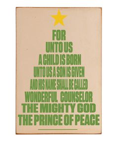 Take a look at this Vinyl Crafts Cream & Green 'For Unto Us' Wall Art on zulily today!