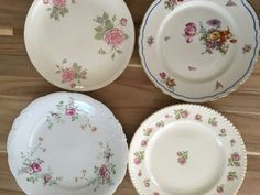 I have 110 dinner sized plates (approx 9-10in.) and 110 dessert/appetizer plates (approx 5-7in.) All are white or cream with gold rim and flower themed. I've pictured only a few here to get the general idea, but they are different patterns and good condition. Perfect for wedding reception!