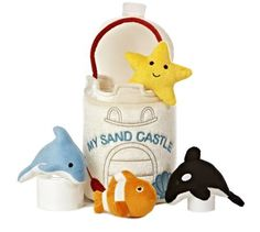 """Fun ocean adventures await your baby with the Aurora My Sand Castle Baby Talk Playset. Included in this set are soft sea-animal characters that encourage talking and learning through shapes, colors, and sounds. A soft """"bucket"""" carrier makes storing easy. Surf Room, Baby Safe, Baby Online, Toddler Toys, Toddler Activities, Pet Toys, Baby Toys, Starfish, Cute Kids"""