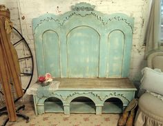 Handmade Painted Cottage Farmhouse Aqua Chic Bench Repurposed Headboard Bench - this is/was for sale, but it's such an awesome piece, I wanted to save it for inspiration. Repurposed Items, Repurposed Furniture, Painted Furniture, Repurposed Wood, Home Design, Home Interior Design, Modern Interior, Design Design, Design Ideas
