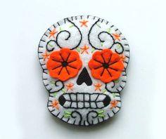 Sugar Skull Embroidered Felt Brooch on Etsy, $15.00