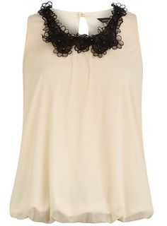 Ivory floral trim top. Love, love, love the collar.