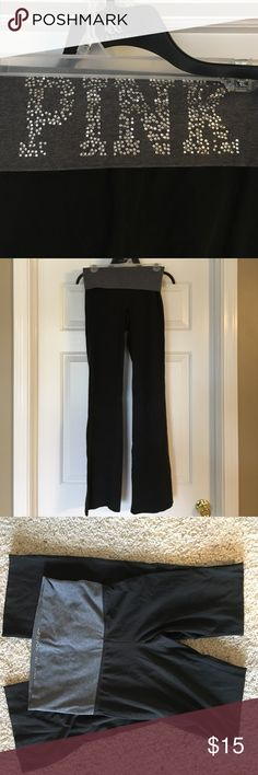 Yoga pants Full length VS PINK yoga pants. Cotton. Dark gray fold with pink in gems on the back PINK Victoria's Secret Pants