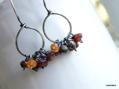 Gemstone Cluster Earrings Handmade Gemstone Hoop by lavenders