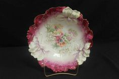 RS Prussia Iris mold bfloral bowl with maroon